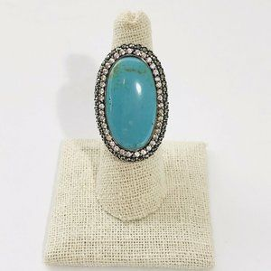 New Turquoise Marcasite Sterling Silver 925 Ring